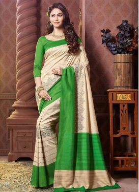 Alluring Print Work Cream and Green Contemporary Style Saree