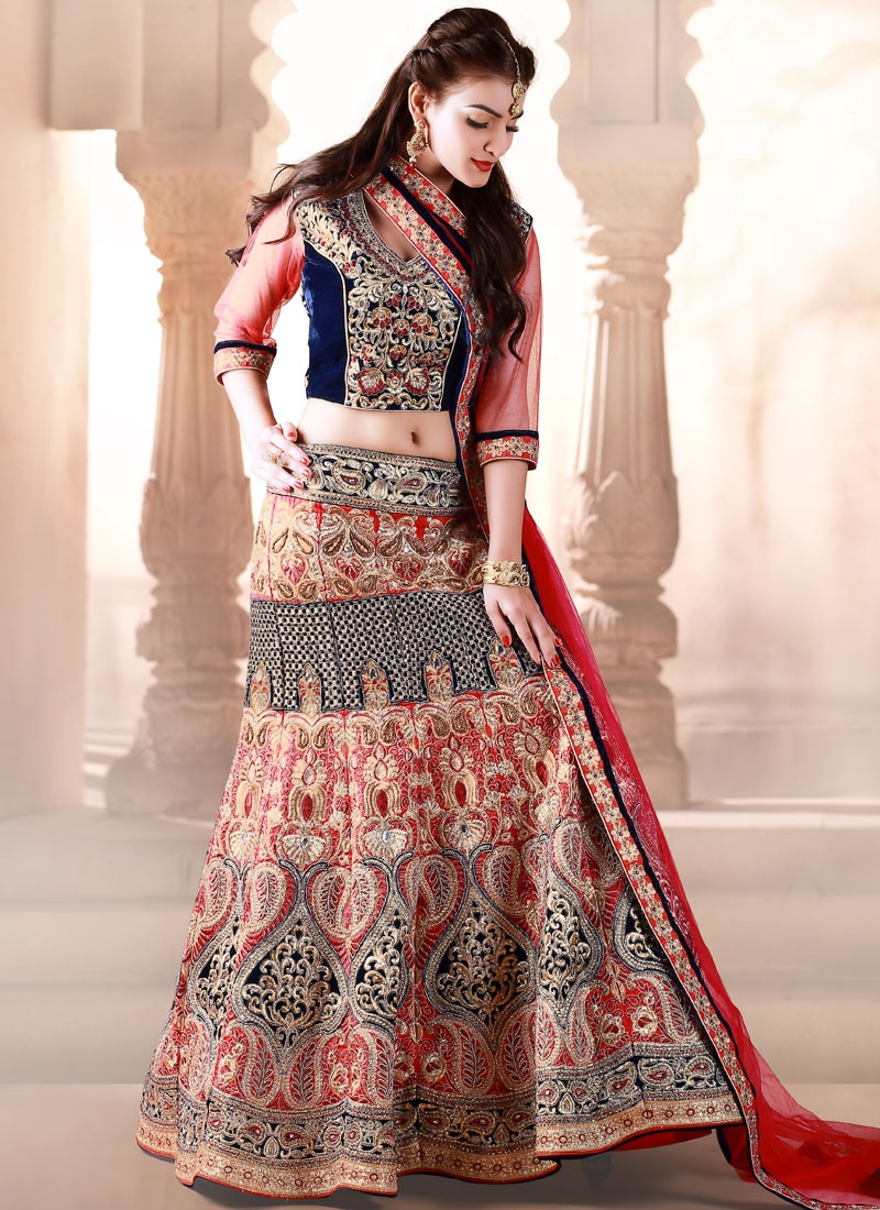 Alluring Stones And Lace Work Wedding Lehenga Choli