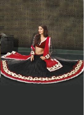 Alluring Velvet And Lace Work Designer Lehenga Choli
