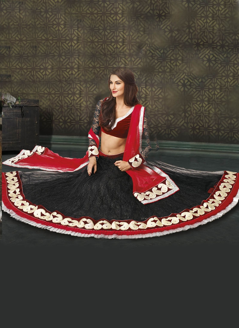 Alluring Velvet And Lace Work Designer Lehenga Choli
