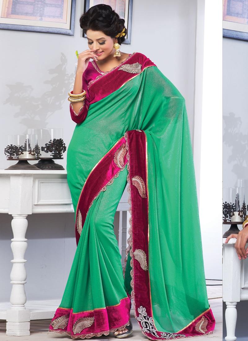 Alluring Velvet Enhanced Party Wear Saree