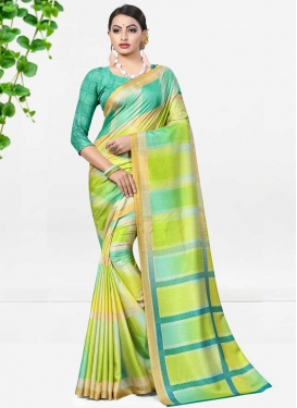 Aloe Veera Green and Aqua Blue Trendy Saree