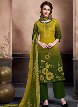 Aloe Veera Green and Bottle Green Cotton Palazzo Salwar Kameez