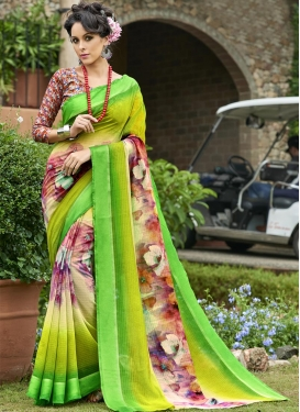 Aloe Veera Green and Cream Contemporary Style Saree For Casual