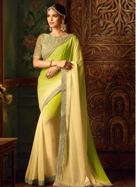 Aloe Veera Green and Cream Embroidered Work Classic Saree