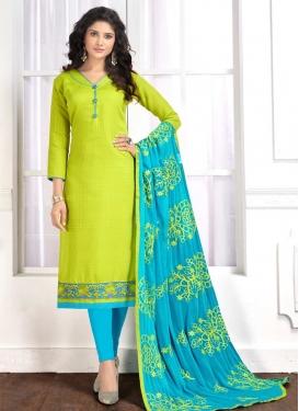 Aloe Veera Green and Light Blue Lace Work Cotton Trendy Churidar Salwar Suit