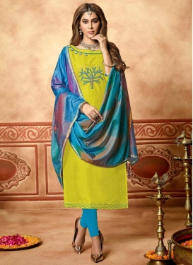Aloe Veera Green and Light Blue Trendy Churidar Suit For Ceremonial