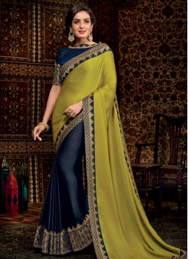 Aloe Veera Green and Navy Blue Half N Half Trendy Saree For Ceremonial