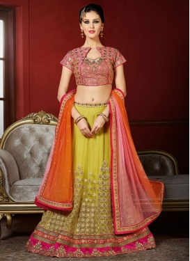 Aloe Veera Green and Orange Embroidered Work Trendy Designer Lehenga Choli