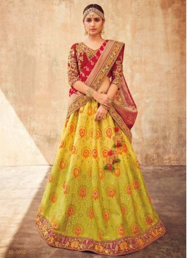 Aloe Veera Green and Red A Line Lehenga Choli