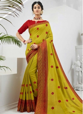 Aloe Veera Green and Red Designer Contemporary Saree