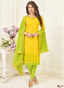 Aloe Veera Green and Yellow Churidar Suit For Casual