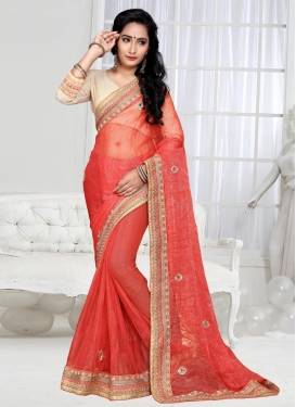 Amazing Beads Work Shimmer Georgette Trendy Classic Saree For Festival