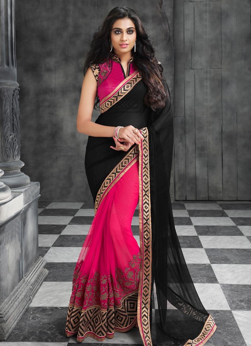Amazing Black Color Half N Half Designer Saree