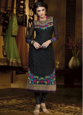 Amazing Black Color Resham Work Designer Salwar Kameez