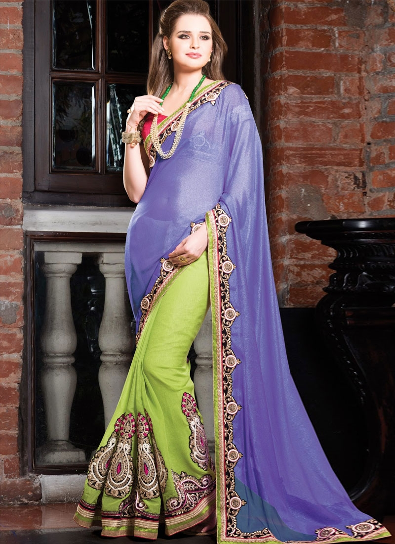 Amazing Booti And Resham Work Half N Half Wedding Saree