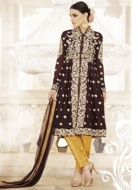Amazing Booti Work Coffee Brown and Mustard Faux Georgette Pant Style Designer Salwar Kameez