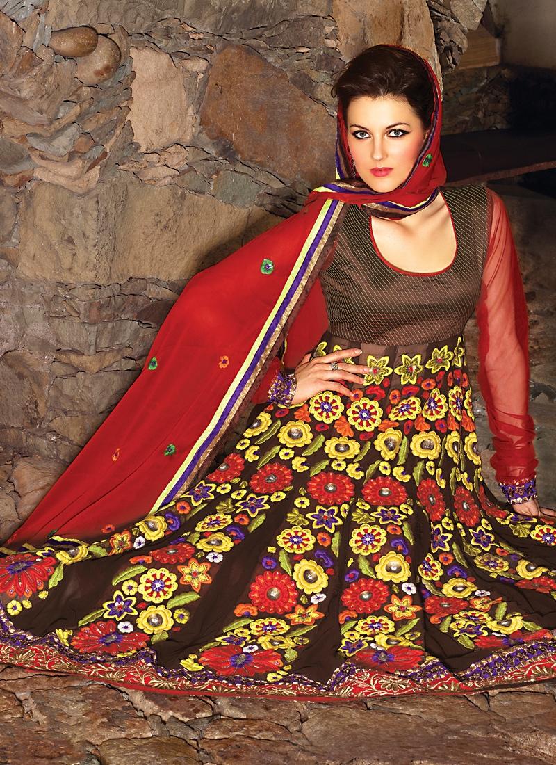 Amazing Brown And Red Salwar Kameez