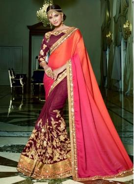Amazing Fancy Fabric Maroon and Orange Designer Half N Half Saree