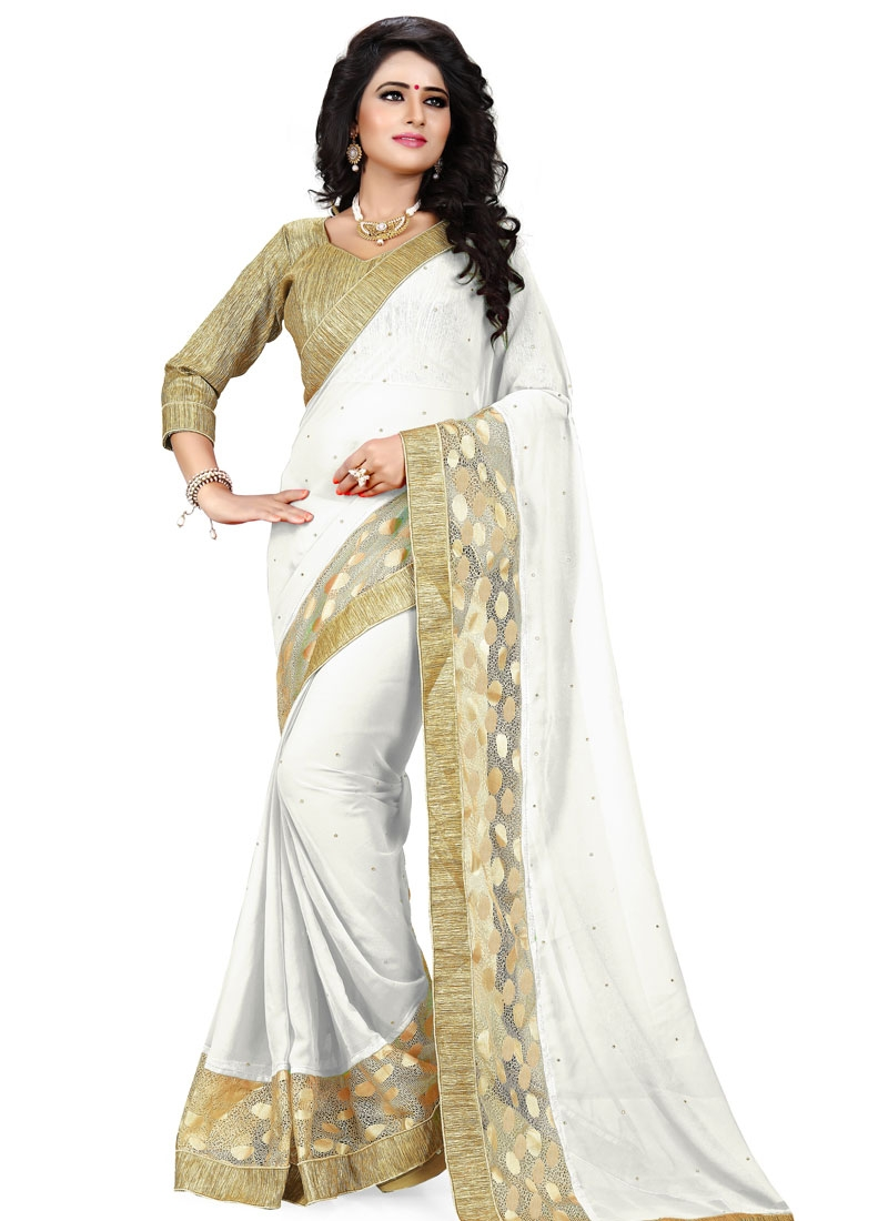 Amazing Faux  Georgette And Net Party Wear Saree