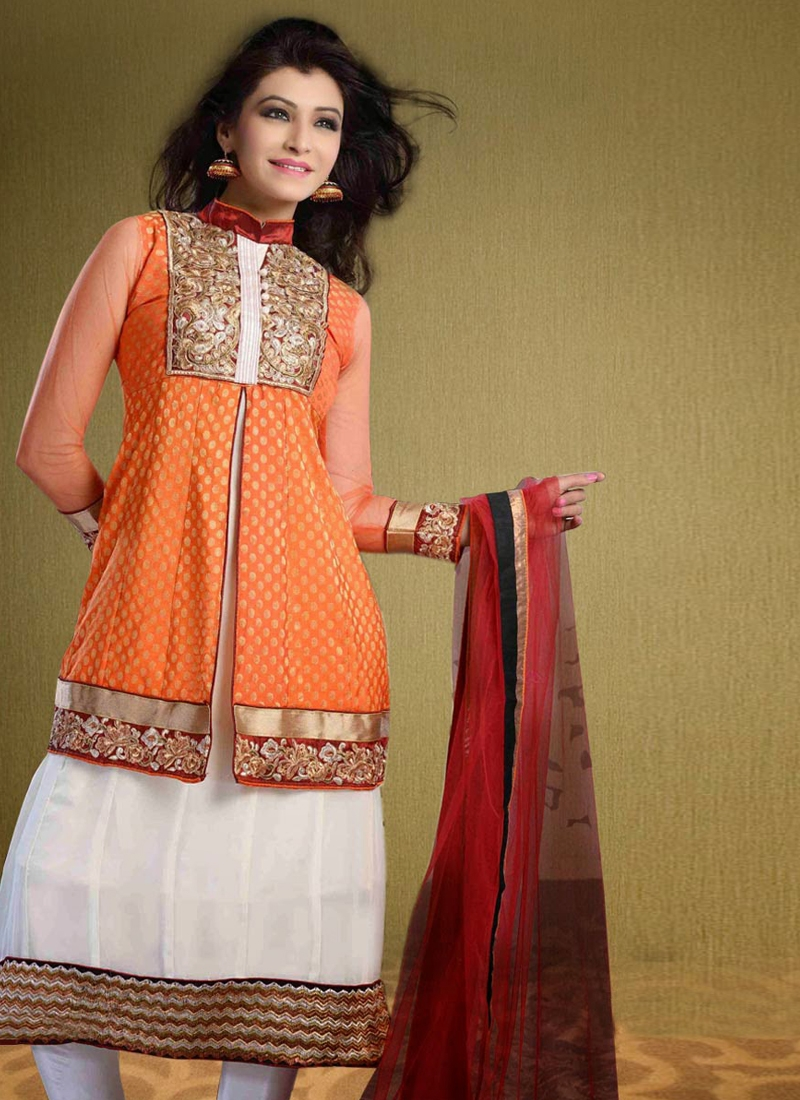Amazing Orange And White Color Party Wear Suit