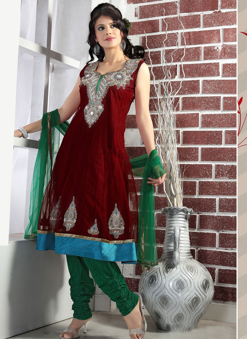 Amazing Red And Green Salwar Kameez