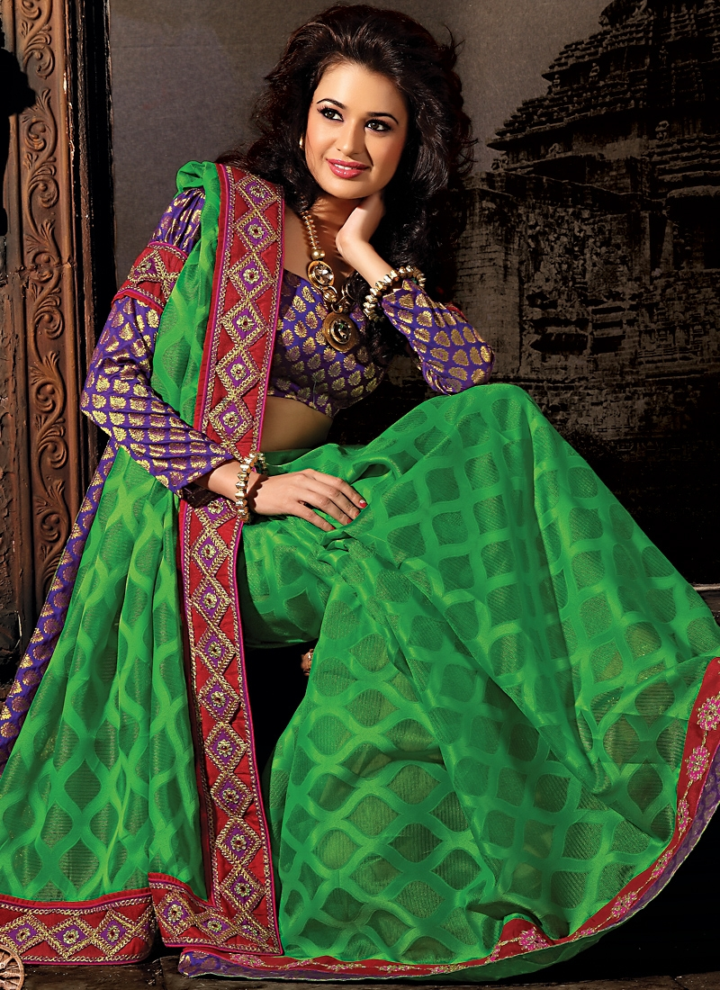 Amazing Resham And Sequins Work Georgette Saree