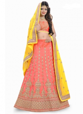 Amazing Salmon and Yellow Lehenga Choli For Bridal