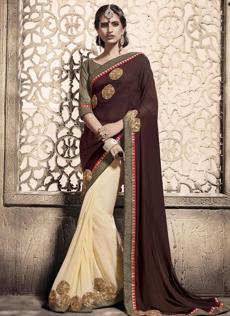 Amazing Sequins Work Cream Color Half N Half Party Wear Saree