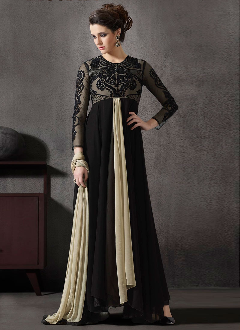 Amusing Black And Cream Color Ankle Length Designer Suit
