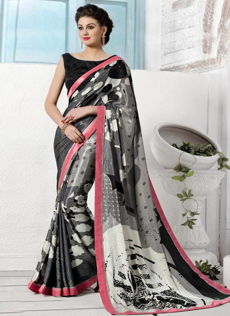 Amusing Black And Grey Color Crepe Silk Casual Saree