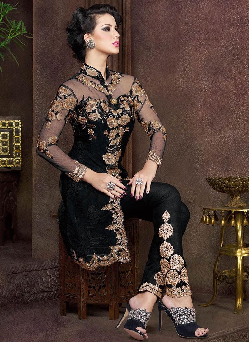 Amusing Black Color Net Pant Style Designer Salwar Kameez