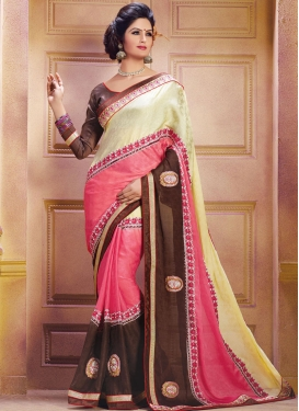 Amusing Booti And Lace Work Designer Saree