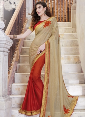 Amusing Booti And Lace Work Half N Half Designer Saree