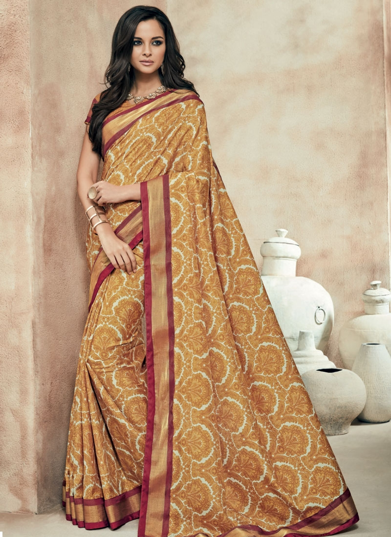 Amusing Brown Color Art Silk Party Wear Saree