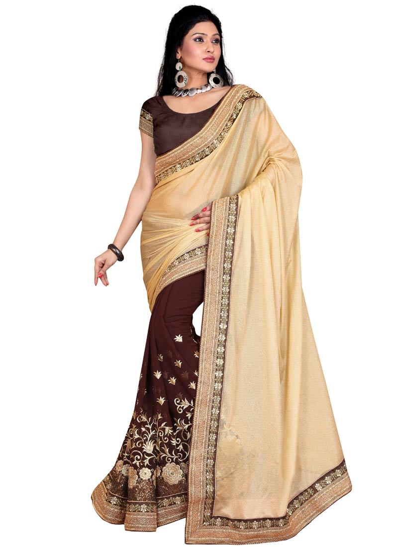 Amusing Coffee Brown And Beige Color Half N Half Party Wear Saree