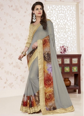 Amusing  Digital Print Work Shimmer Georgette Trendy Classic Saree For Ceremonial