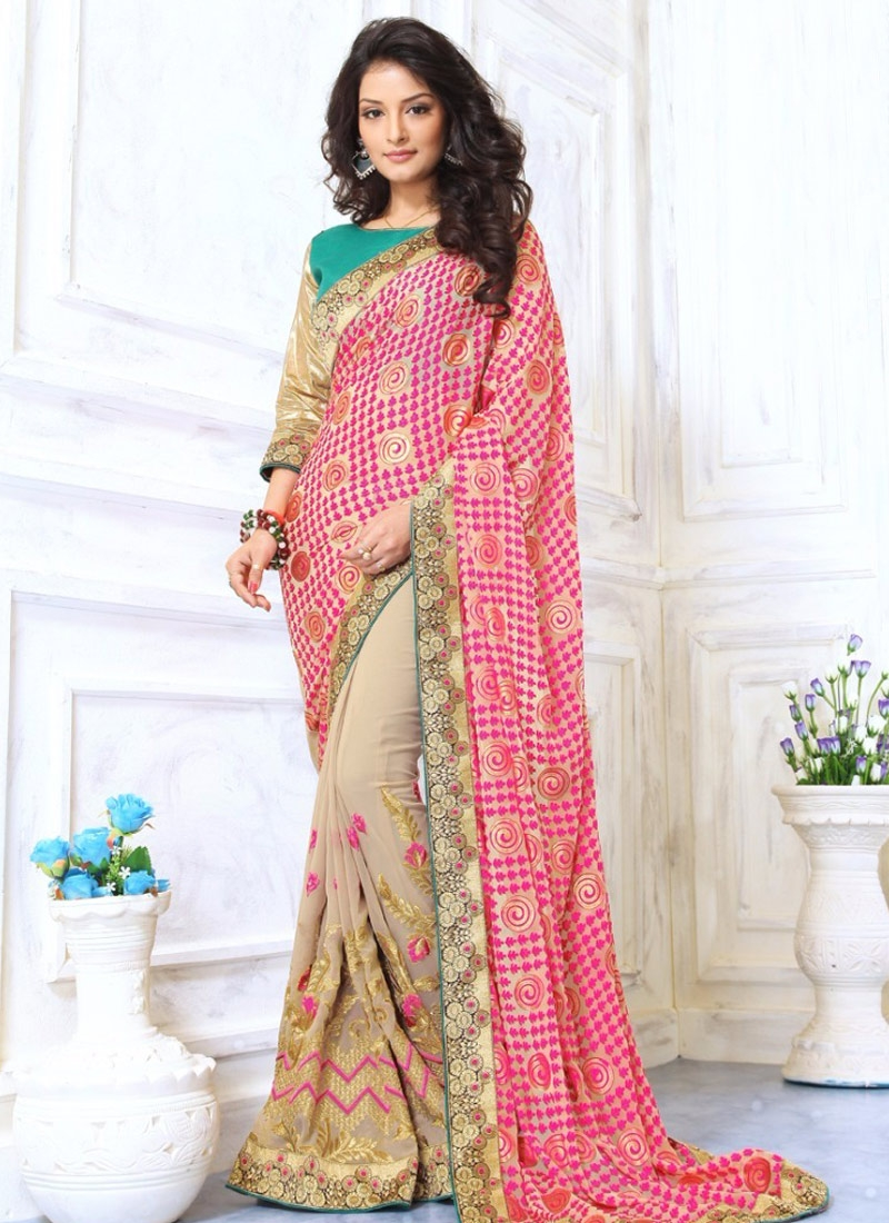 Amusing Embroidery Work Half N Half Party Wear Saree