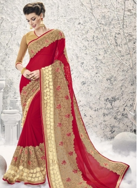 Amusing  Faux Georgette Traditional Designer Saree For Festival