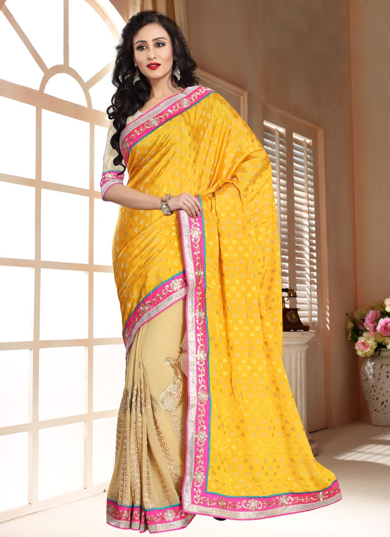 Amusing Gold And Beige Color Half N Half Party Wear Saree