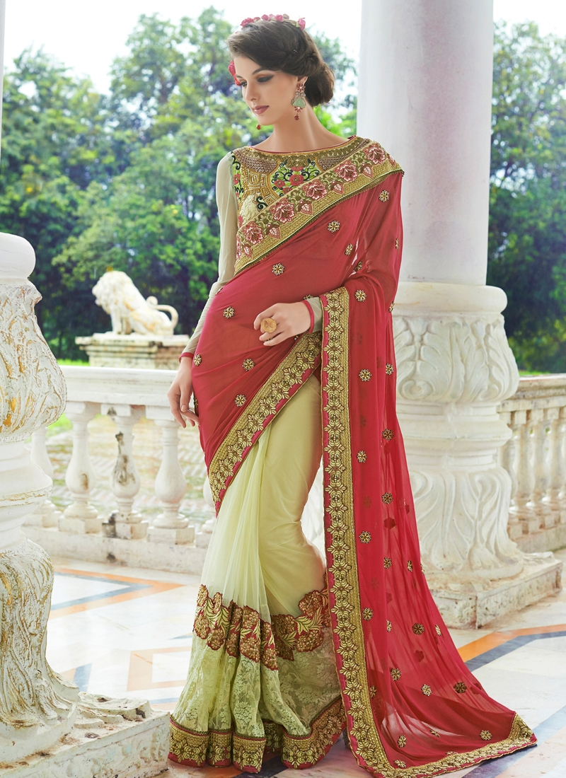 Amusing Lace And Resham Work Half N Half Wedding Saree