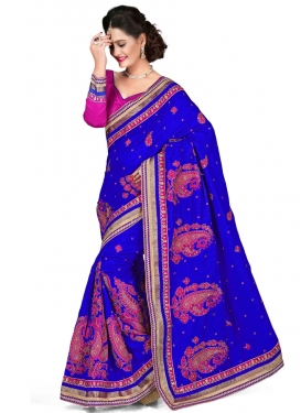 Amusing Lace And Stone Work Blue Color Designer Saree