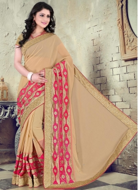 Amusing Lace Work Faux Chiffon Beige Traditional Designer Saree For Ceremonial