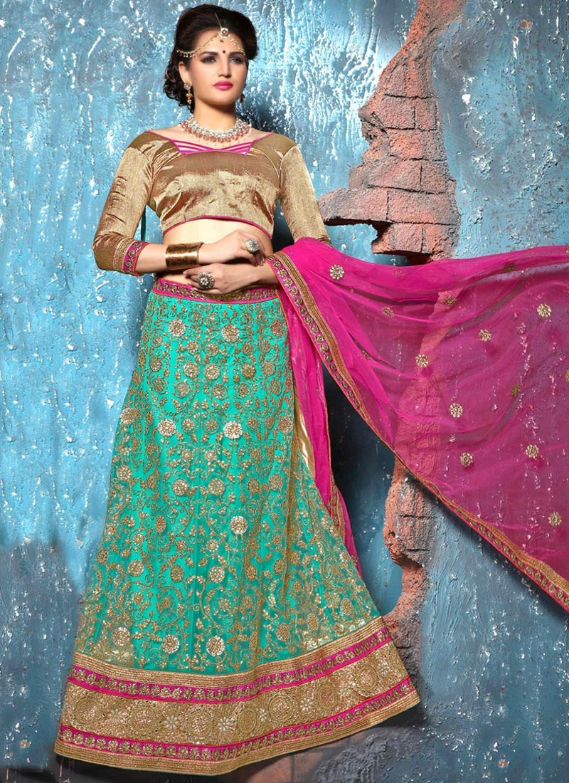 Amusing Mirror And Beads Work Bridal Lehenga Choli