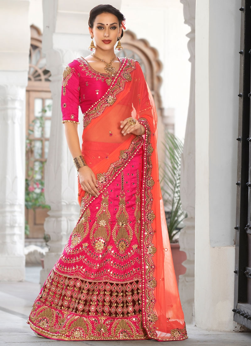 Amusing Mirror And Booti Work Designer Lehenga Saree