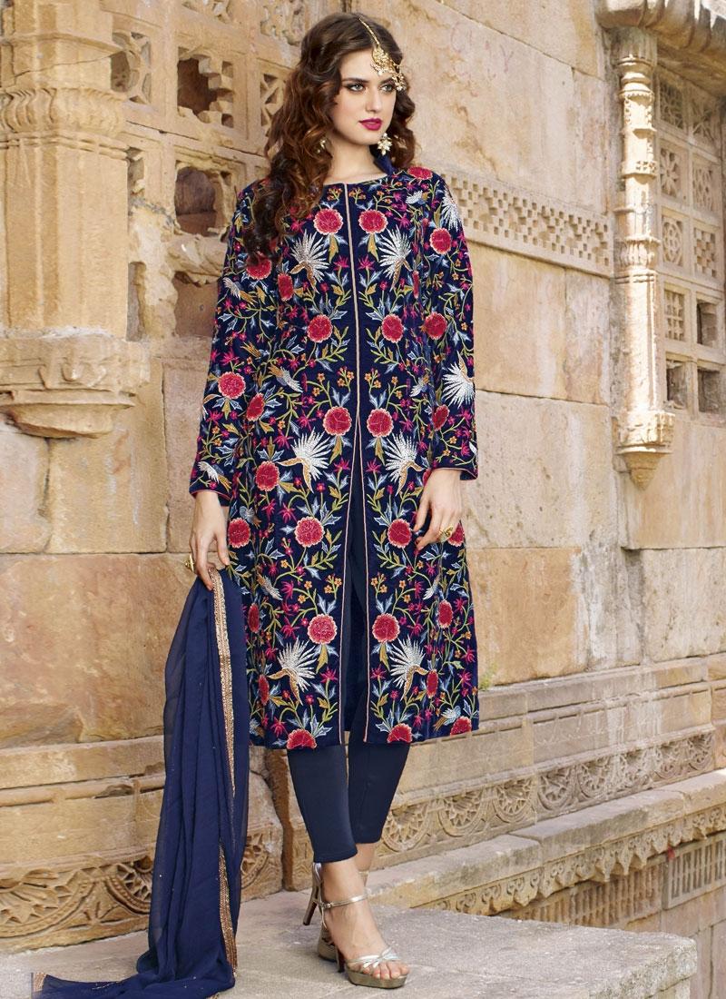 Amusing Navy Blue Color Stone Work Wedding Salwar Suit