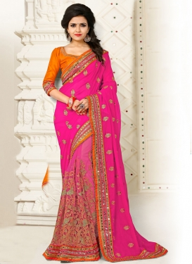 Amusing Net Contemporary Style Saree For Bridal