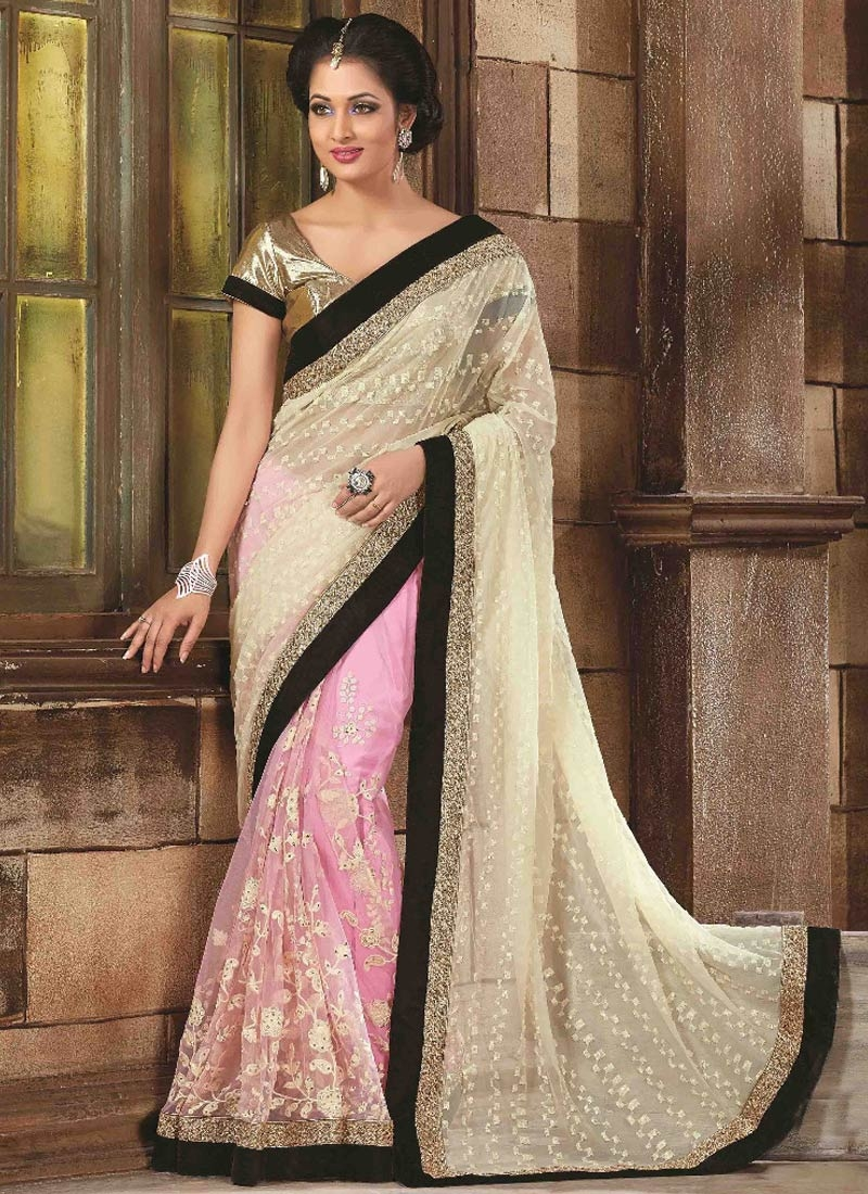 Amusing Net Stone Work Half N Half Designer Saree