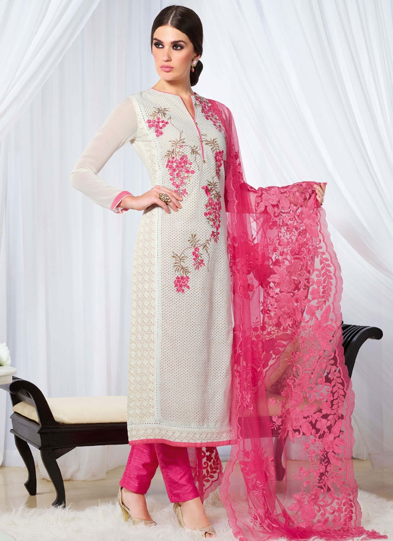 Amusing Off White And Hot Pink Color Pant Style Pakistani Salwar Suit