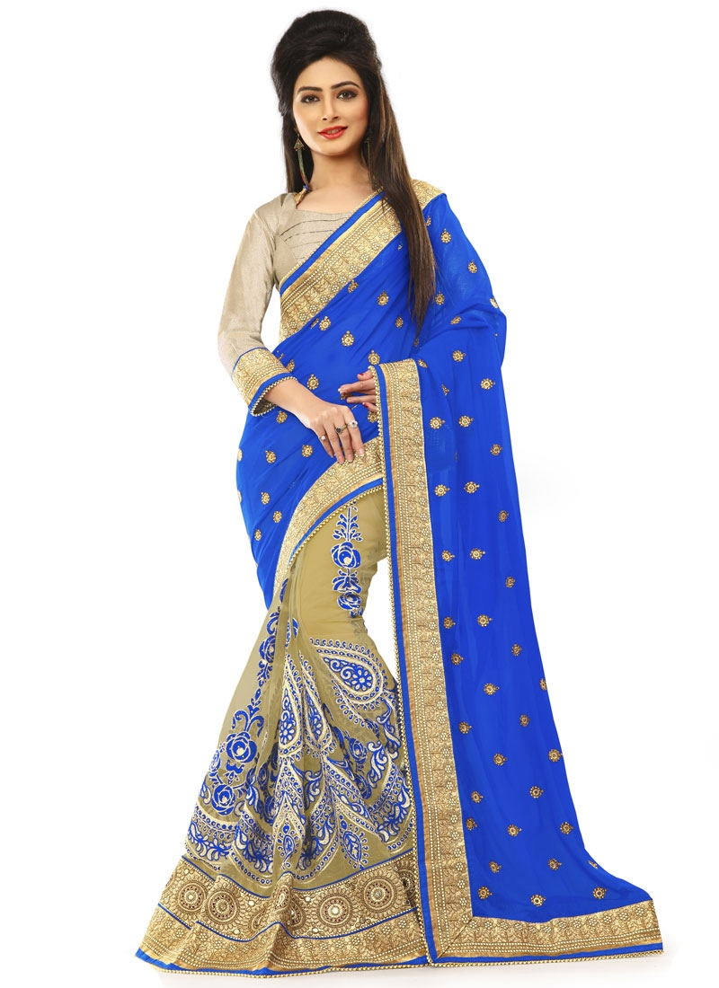 Amusing Patch Border Work Blue Color Half N Half Wedding Saree
